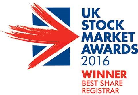 UK Stock Market Awards 2016 - Best Share Registrar
