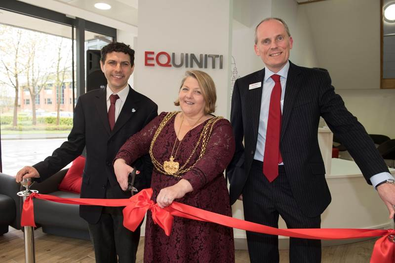 L - R Alex Sobel MP, Jane Dowson, Lord Mayor of Leeds, Guy Wakeley, CEO of Equiniti Group.jpg